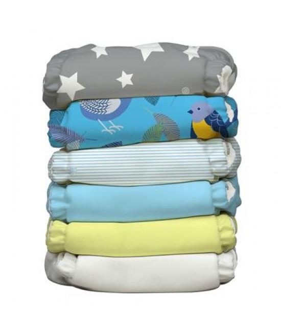 Set 6 scutece textile Charlie Banana Twitter Star cu inserturi noi cu fleece (scutece hibrid, cu buzunar sau AI2)