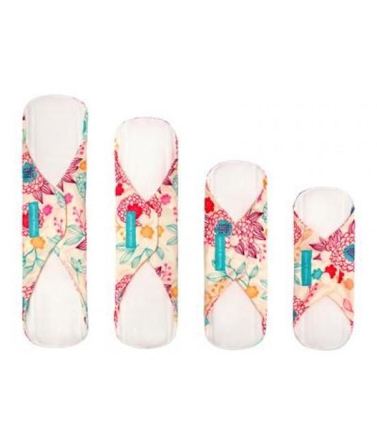 Set 4 absorbante intime feminine lavabile Charlie Banana Peony Blossom de diferite dimensiuni (Liner, Regular, Super, Super+)