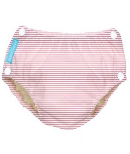 Scutec refolosibil de înot Charlie Banana cu interior de Tencel și capse laterale - model Pencil Stripes Pink