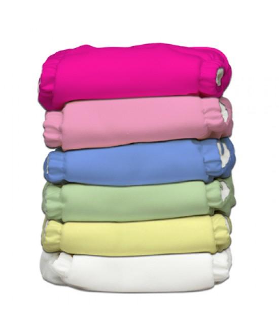 Set 6 scutece textile Charlie Banana Girl cu inserturi noi cu fleece (scutece hibrid, cu buzunar sau AI2) - mărime unică