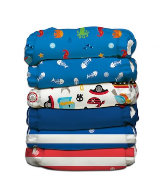 Set 6 scutece textile Charlie Banana Ocean Flair II cu inserturi noi cu fleece (scutece hibrid, cu buzunar sau AI2)
