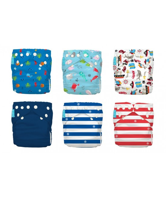 Set 6 scutece textile Charlie Banana Ocean Adventure cu inserturi noi cu fleece (scutece hibrid, cu buzunar sau AI2)