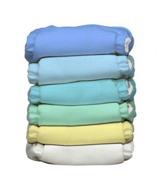 Set 6 scutece textile Charlie Banana Unisex Pastel cu inserturi noi cu fleece (scutece hibrid, cu buzunar sau AI2) - mărime unică
