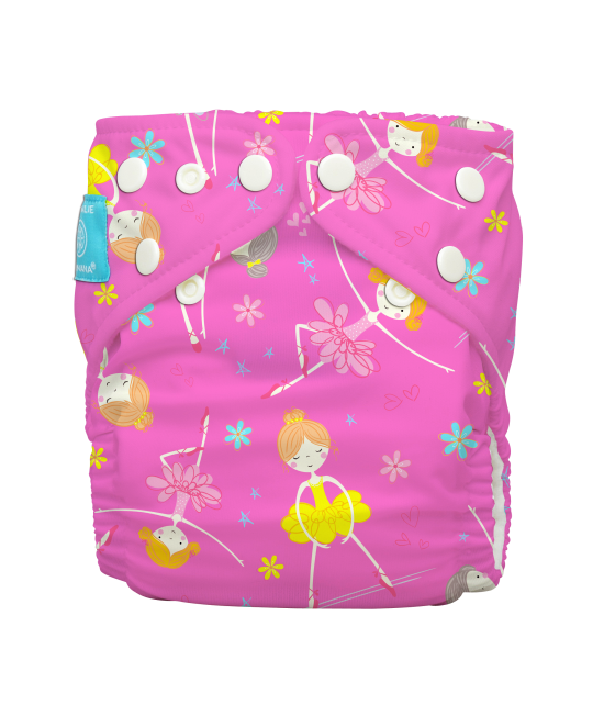 Scutec textil Charlie Banana Diva Ballerina Pink Hybrid - mărime unică, cu 2 inserturi
