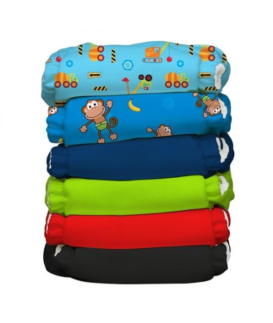 Set economic 6 scutece textile refolosibile Charlie Banana din bumbac organic cu inserturi de cânepă - Monkey Business