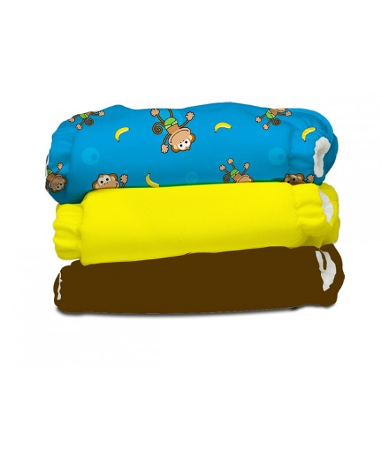 Set economic 3 scutece textile refolosibile Charlie Banana - Monkey Doo