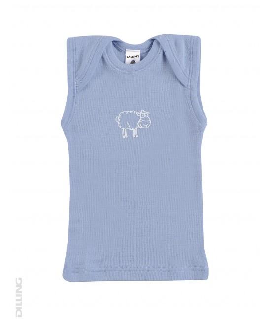 Tricou albastru fără mâneci din lână Merinos organică Dilling Underwear (maieu pentru bebeluși)