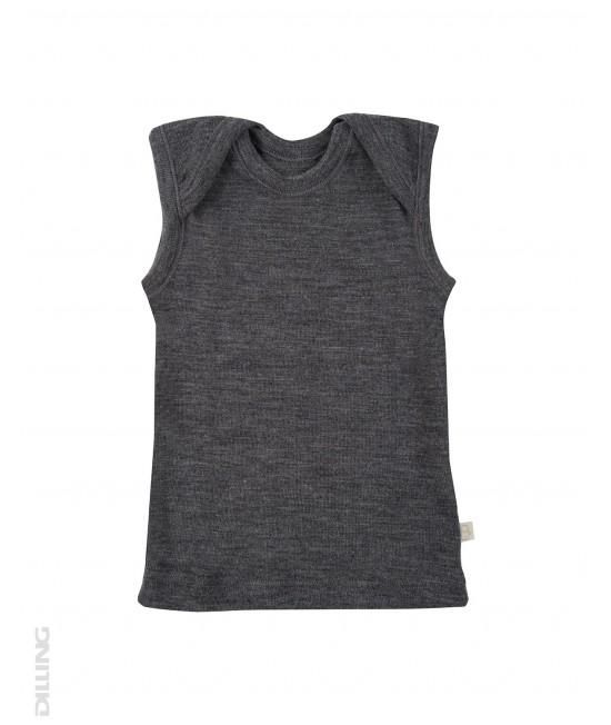 Tricou gri fără mâneci din lână Merinos organică Dilling Underwear (maieu pentru bebeluși)