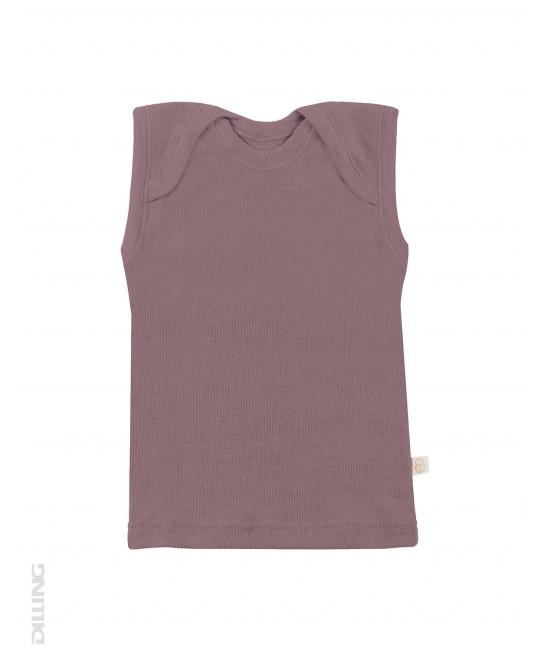 Tricou roz închis fără mâneci din lână Merinos organică Dilling Underwear (maieu pentru bebeluși)