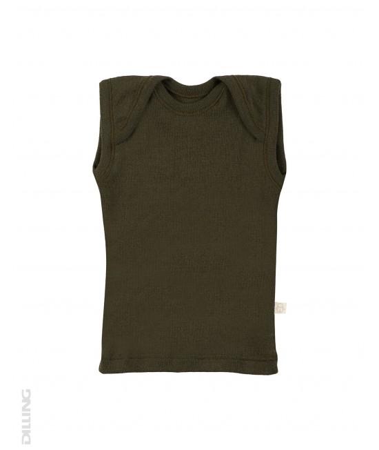Tricou verde fără mâneci din lână Merinos organică Dilling Underwear (maieu pentru bebeluși)