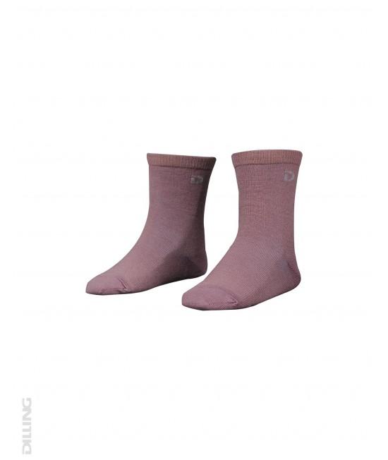 Șosete roz din lână Merinos organică Dilling Underwear pentru copii