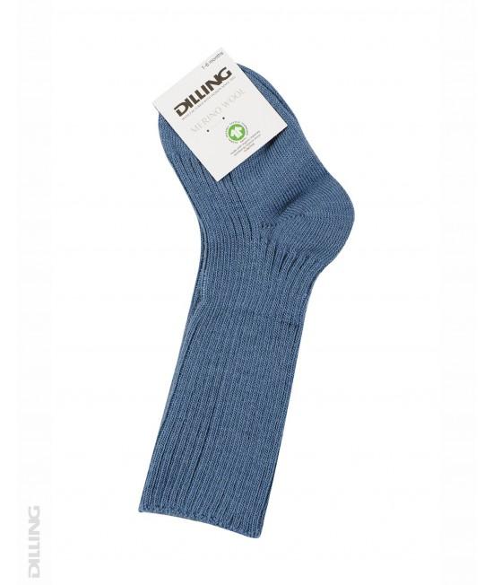 Șosete albastre striate din lână Merinos organică Dilling Underwear pentru bebeluși