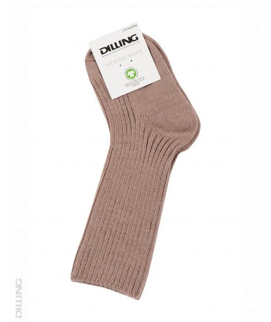 Șosete roz striate din lână Merinos organică Dilling Underwear pentru bebeluși