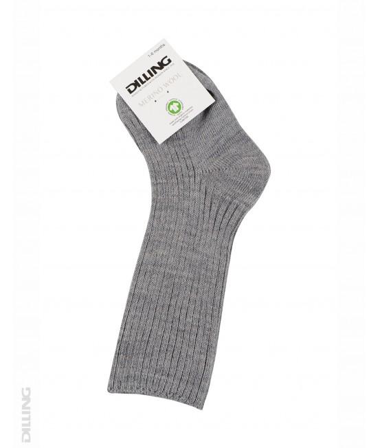 Șosete gri striate din lână Merinos organică Dilling Underwear pentru bebeluși