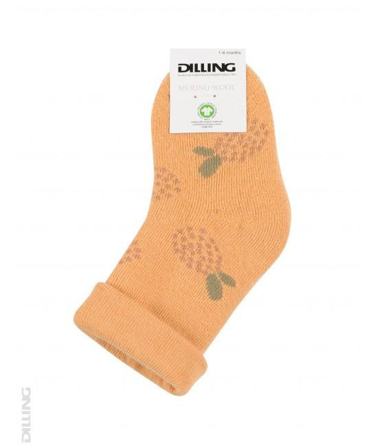 Șosete galbene flaușate din lână Merinos organică Dilling Underwear pentru bebeluși - cu flori