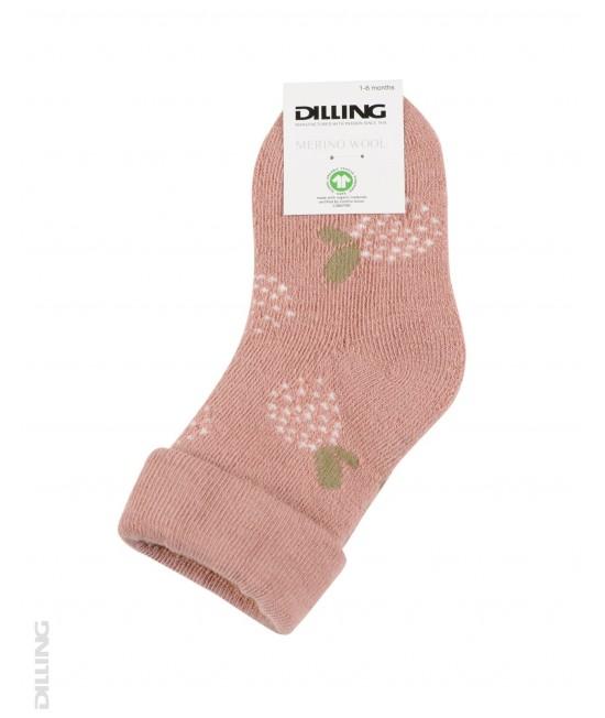 Șosete roz flaușate din lână Merinos organică Dilling Underwear pentru bebeluși - cu flori