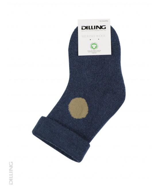 Șosete albastru-petrol flaușate din lână Merinos organică Dilling Underwear pentru bebeluși
