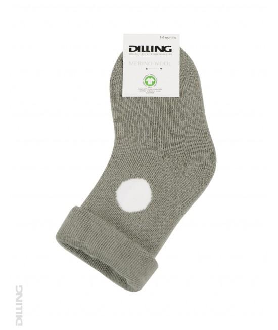 Șosete verzi-măslină flaușate din lână Merinos organică Dilling Underwear pentru bebeluși