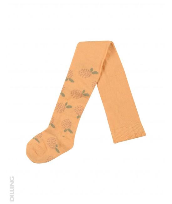 Ciorapi galbeni din lână Merinos organică Dilling Underwear pentru bebeluși - cu flori