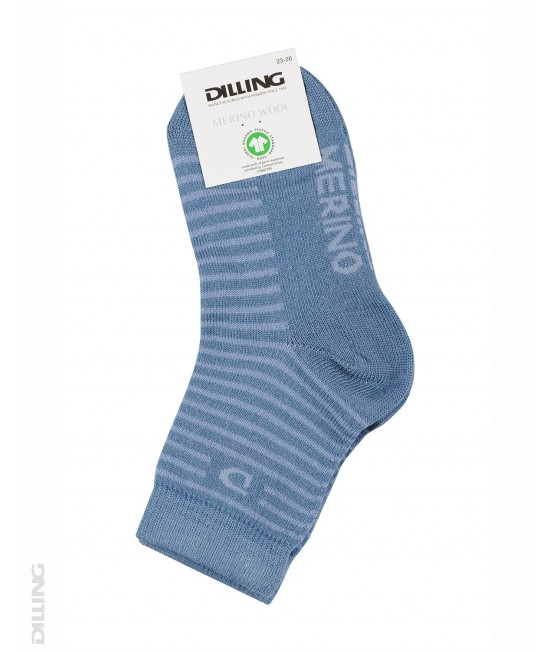 Șosete albastre din lână Merinos organică Dilling Underwear pentru copii