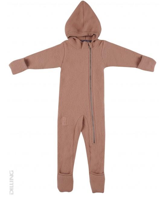 Salopetă overall roz din polar de lână Merinos Dilling Underwear pentru bebeluși