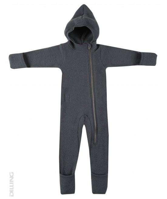 Salopetă overall gri închis din polar de lână Merinos Dilling Underwear pentru bebeluși
