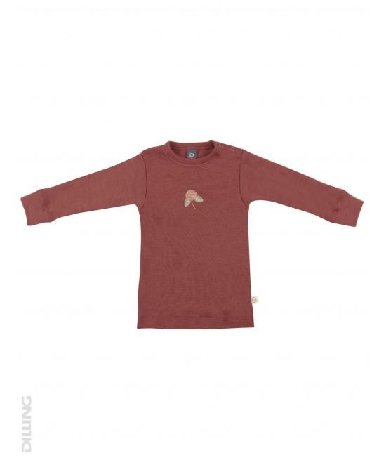 Bluză vișinie de corp din lână Merinos organică Dilling Underwear pentru bebeluși
