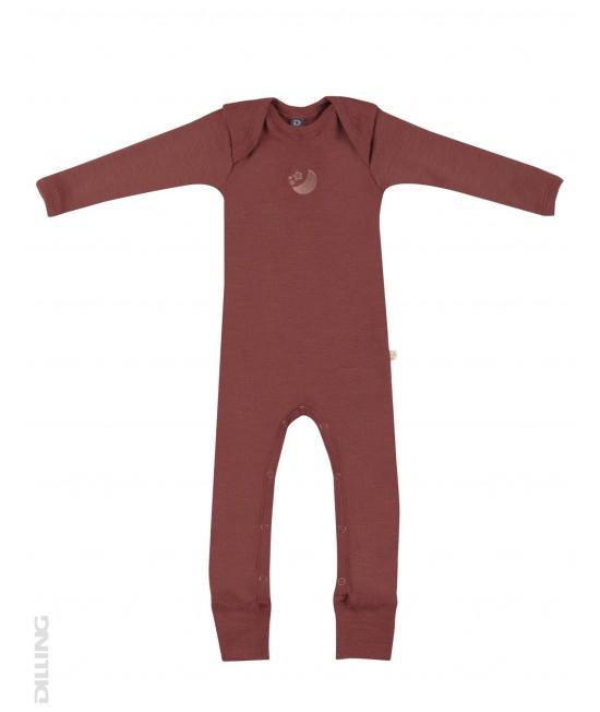 Salopetă overall vișinie din lână Merinos organică Dilling Underwear pentru bebeluși
