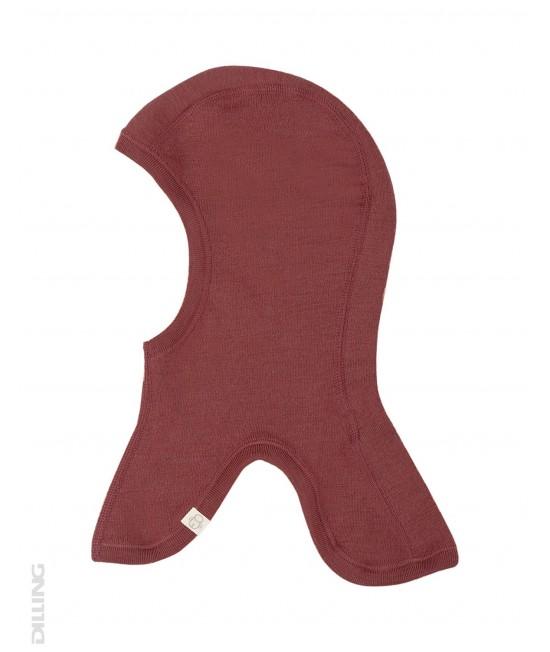 Cagulă vișinie din lână Merinos organică Dilling Underwear pentru copii