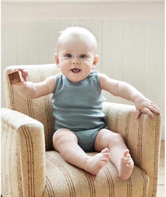 Body-maieu verde deschis din lână Merinos organică Dilling Underwear pentru bebeluși