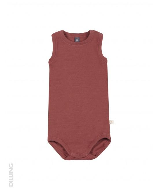 Body-maieu vișiniu din lână Merinos organică Dilling Underwear pentru bebeluși