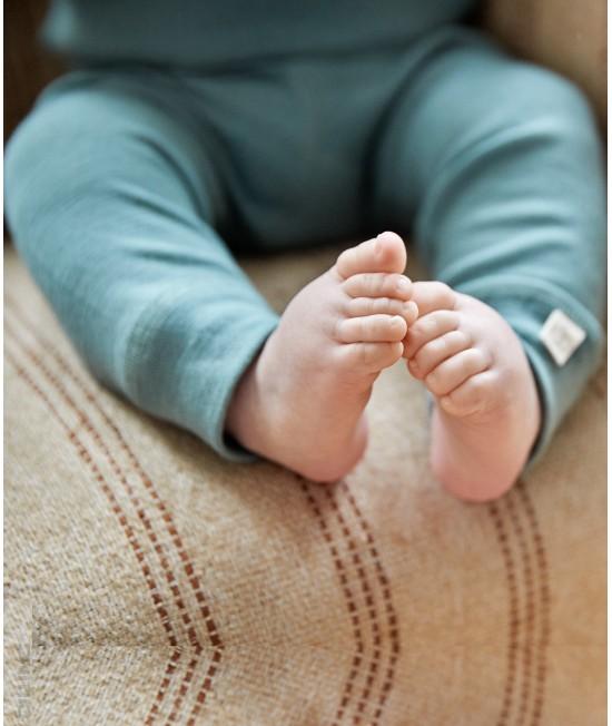 Colanți verzi deschis din lână Merinos organică Dilling Underwear pentru bebeluși