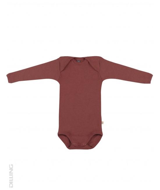 Body vișiniu cu mânecă lungă din lână Merinos organică Dilling Underwear pentru bebeluși