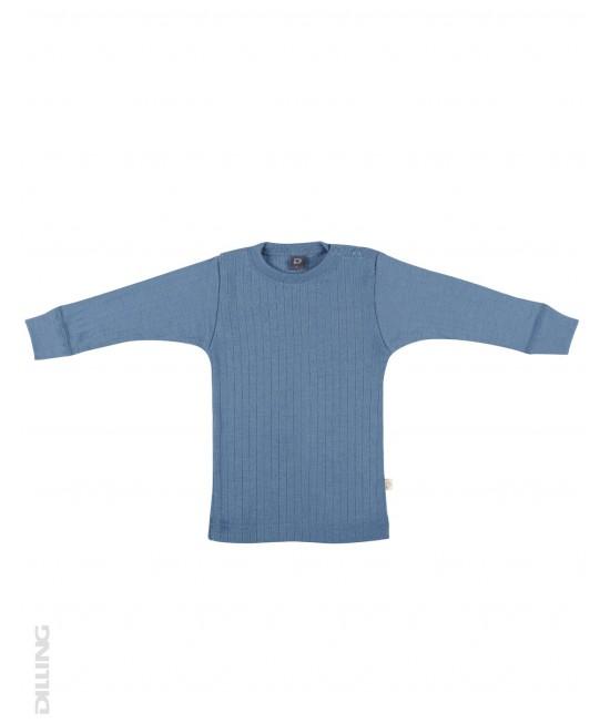 Bluză albastră striată de corp din lână Merinos organică Dilling Underwear pentru bebeluși