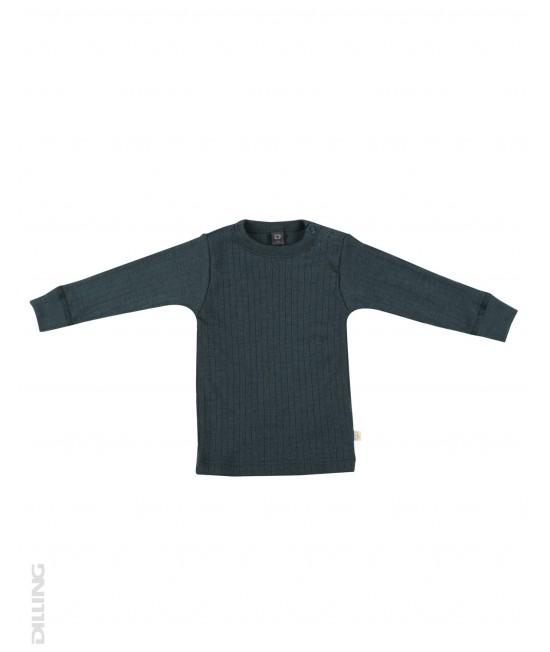 Bluză gri petrol striată de corp din lână Merinos organică Dilling Underwear pentru bebeluși