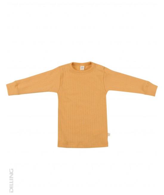 Bluză galbenă striată de corp din lână Merinos organică Dilling Underwear pentru bebeluși