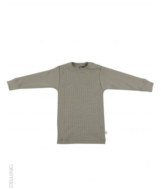 Bluză verde striată de corp din lână Merinos organică Dilling Underwear pentru bebeluși