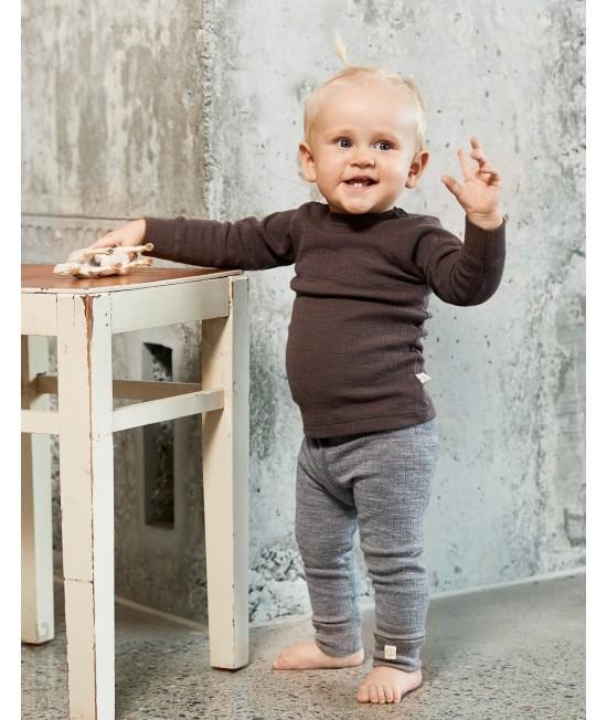 Bluză ciocolatie striată de corp din lână Merinos organică Dilling Underwear pentru bebeluși