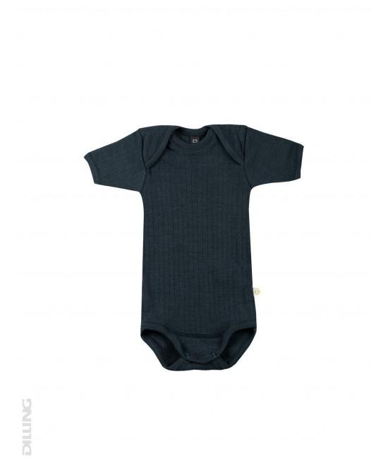 Body albastru petrol striat cu mânecă scurtă din lână Merinos organică Dilling Underwear pentru bebeluși