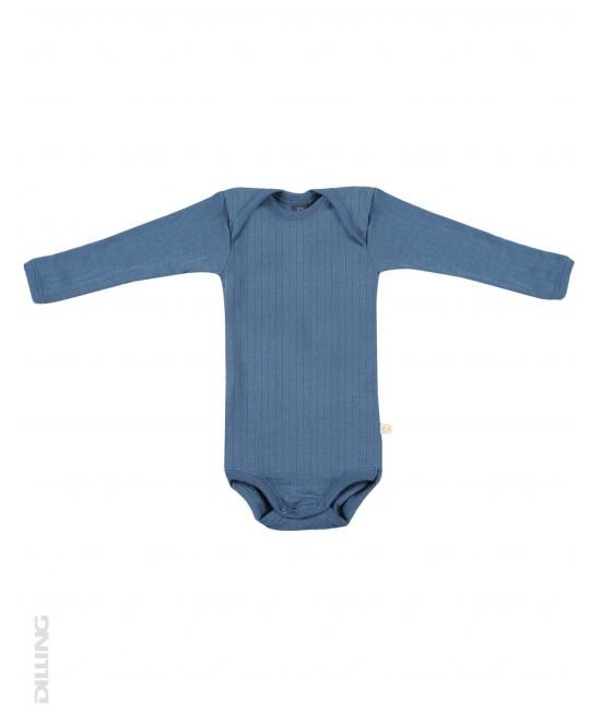 Body albastru striat cu mânecă lungă din lână Merinos organică Dilling Underwear pentru bebeluși