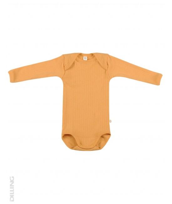Body galben striat cu mânecă lungă din lână Merinos organică Dilling Underwear pentru bebeluși