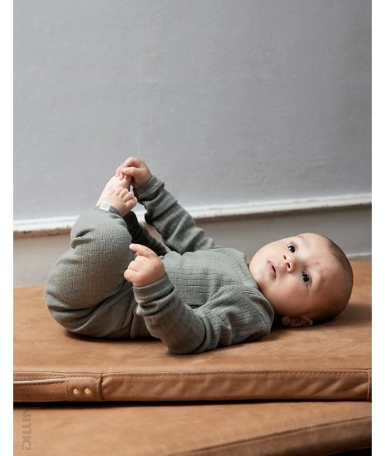Body verde striat cu mânecă lungă din lână Merinos organică Dilling Underwear pentru bebeluși