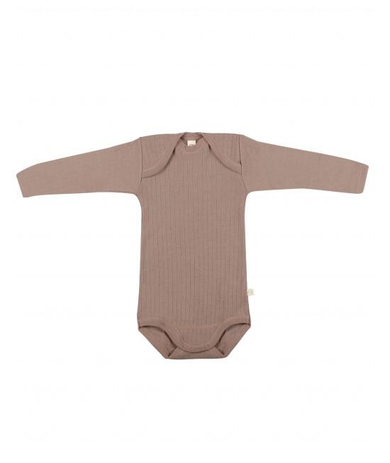 Body roz vintage striat cu mânecă lungă din lână Merinos organică Dilling Underwear pentru bebeluși