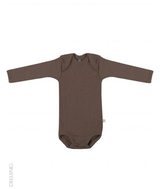 Body ciocolatiu striat cu mânecă lungă din lână Merinos organică Dilling Underwear pentru bebeluși