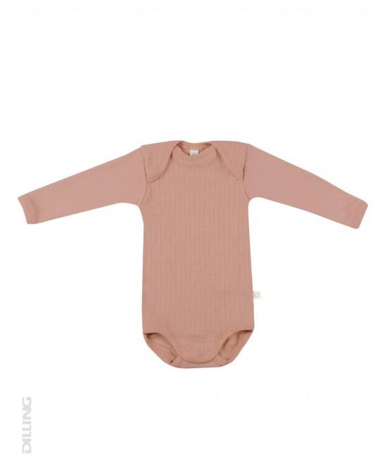 Body roz striat cu mânecă lungă din lână Merinos organică Dilling Underwear pentru bebeluși