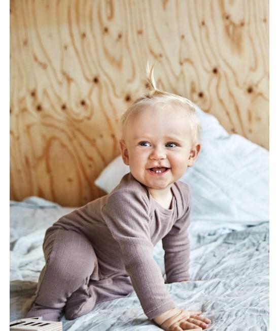 Salopetă overall roz închis striată din lână Merinos organică Dilling Underwear pentru bebeluși - cu botoș