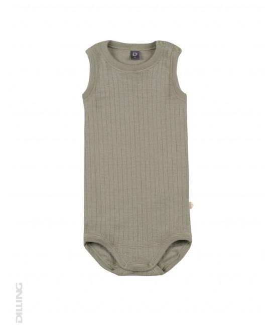 Body-maieu verde măslină striat din lână Merinos organică Dilling Underwear pentru bebeluși
