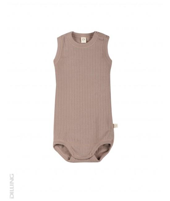 Body-maieu roz striat din lână Merinos organică Dilling Underwear pentru bebeluși