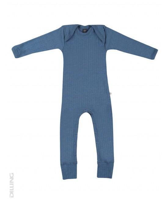 Salopetă overall albastră striată din lână Merinos organică Dilling Underwear pentru bebeluși