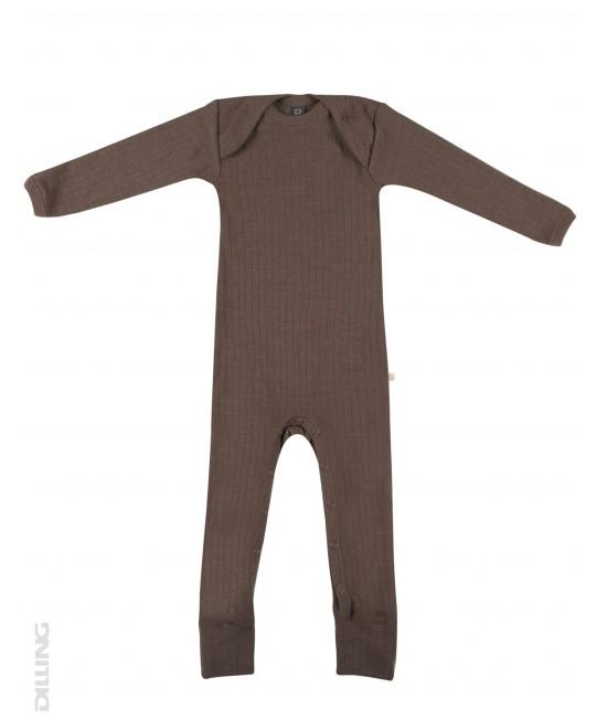 Salopetă overall ciocolatie striată din lână Merinos organică Dilling Underwear pentru bebeluși
